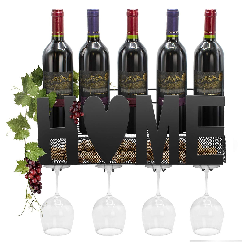 "Wall Mounted Wine Bottle Stemware Rack (""HOME"") - Sorbus Home"