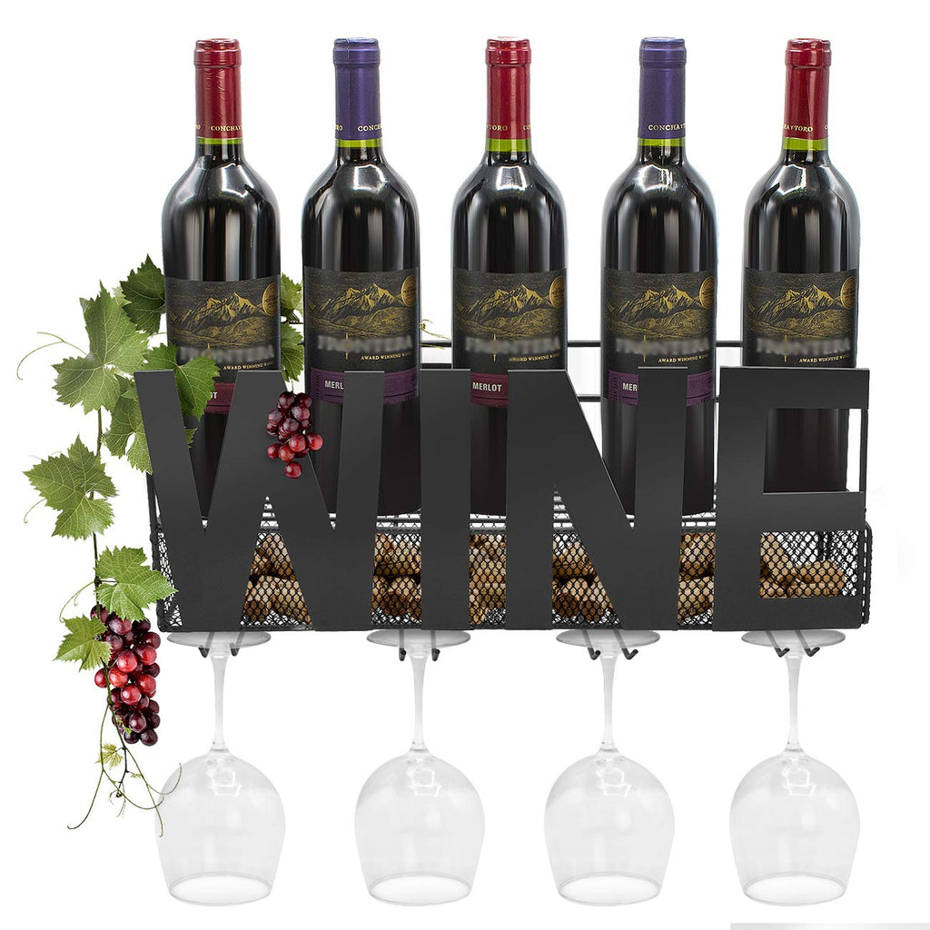"Wall Mounted Wine Bottle Stemware Rack (""WINE"") - Sorbus Home"