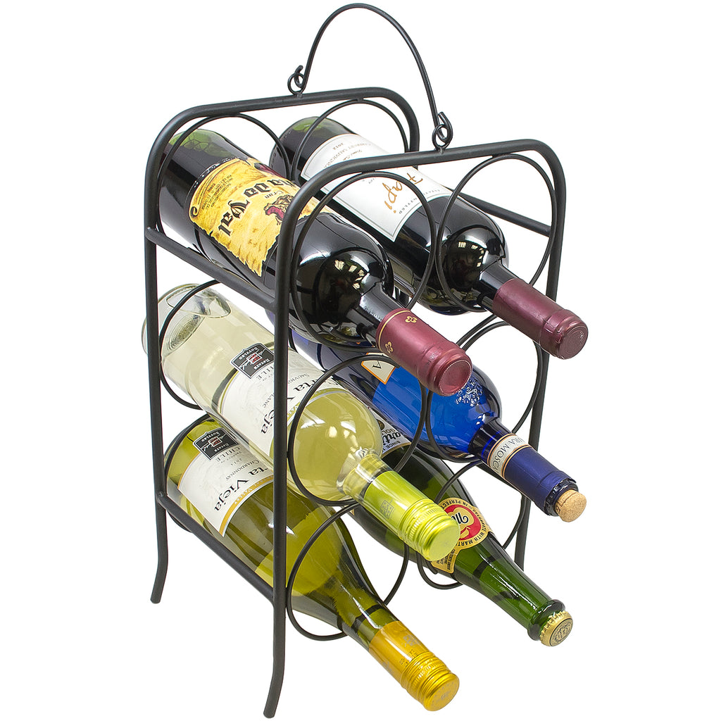 Freestanding Wine Rack Holder (Holds 6 Bottles) - Sorbus Home