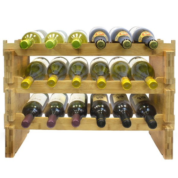 Stackable Bamboo Wine Rack - Sorbus Home