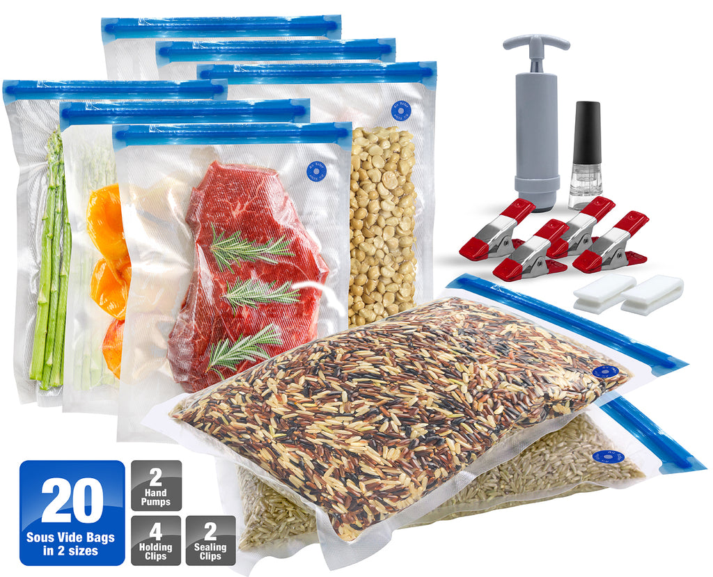 Sous Vide Bags Kit for Cookers - 20 BPA Free Food Vacuum Sealed Bags - Sorbus Home