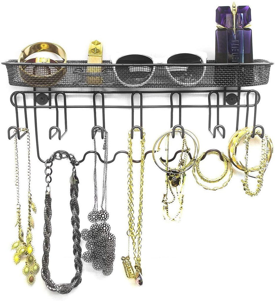 Wall Mount Jewelry Organizer (13 Hooks) - Sorbus Home