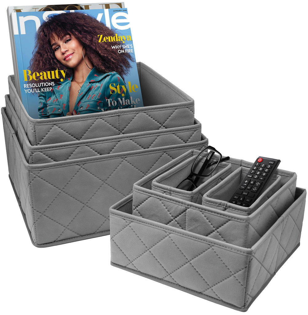7-Piece Storage Bin Organizer Set (Gray)