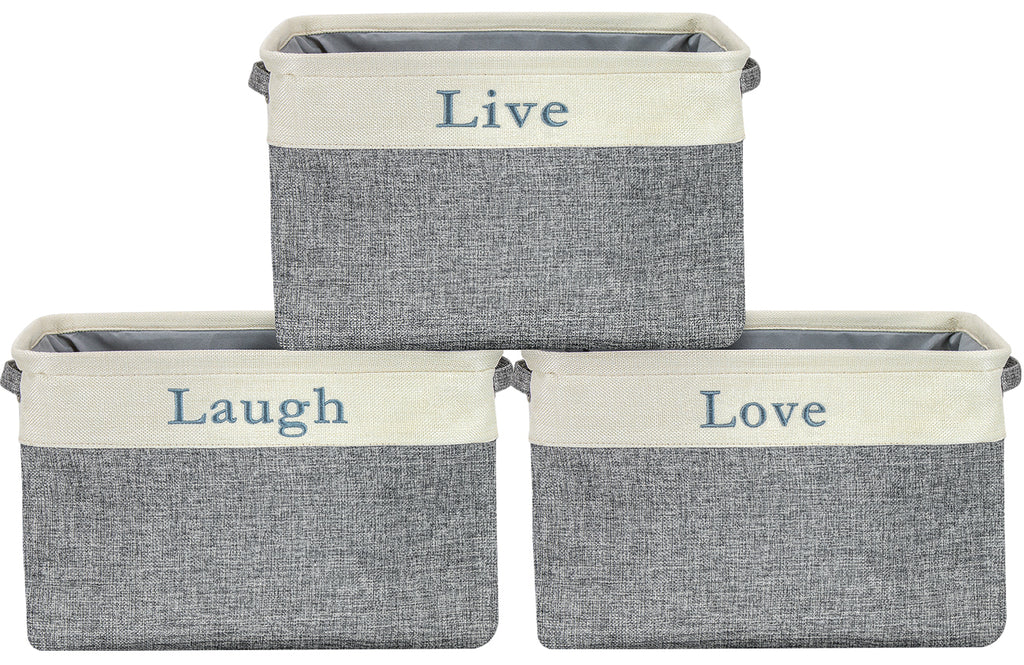 "Twill Storage Basket Set - ""Live, Love, Laugh"" - (Lowercase Text) - Sorbus Home"
