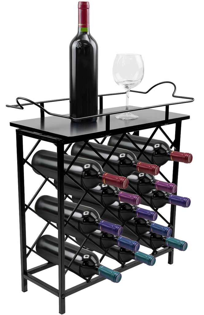 13-Bottle Wine Rack Stand with Removable Tray - Sorbus Home