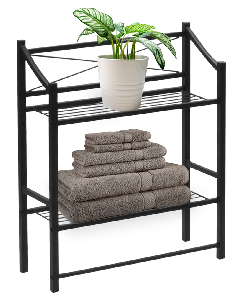 2-Tier Bath Storage Shelf & Towel Bar - Sorbus Home