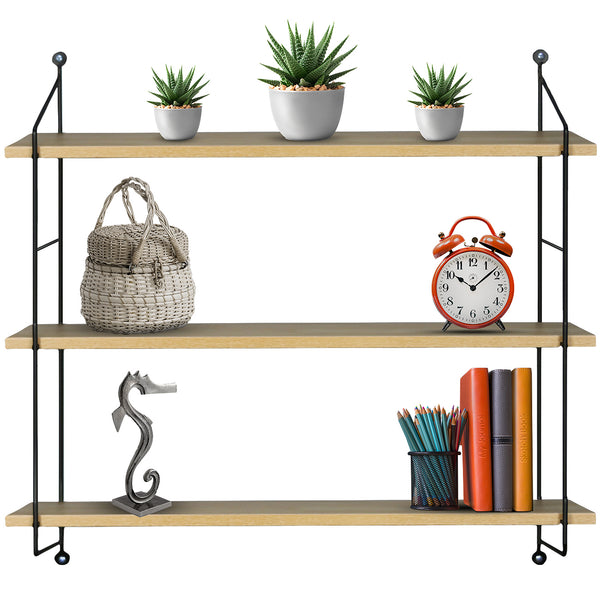 3-Tier Floating Shelf with Metal Brackets (Maple) - Sorbus Home