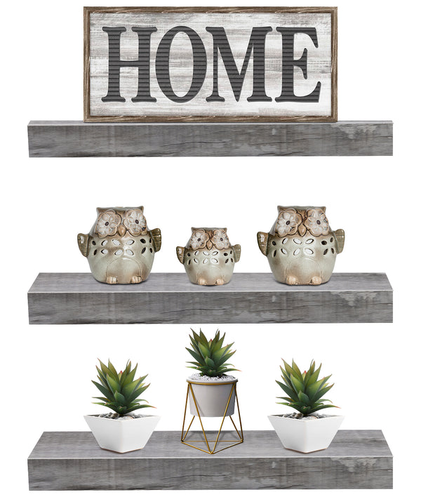Rustic Rectangle Floating Shelves (3-Pack) - Sorbus Home