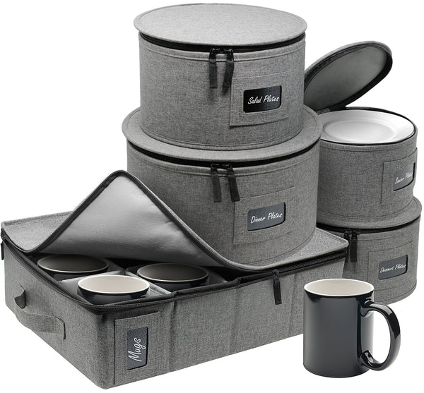 5-Piece Dinnerware Storage Set (Gray)