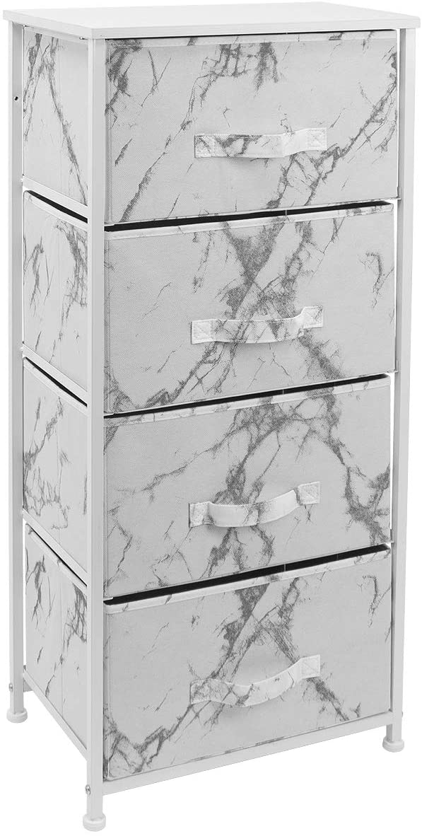 4-Drawer Nightstand Chest (Marble Print)
