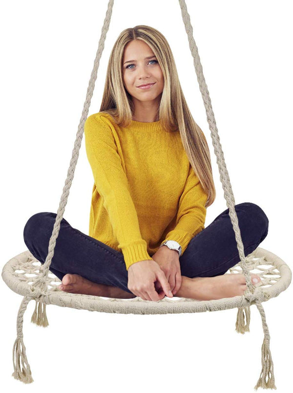 Round Macramé Swing Chair - Sorbus Home