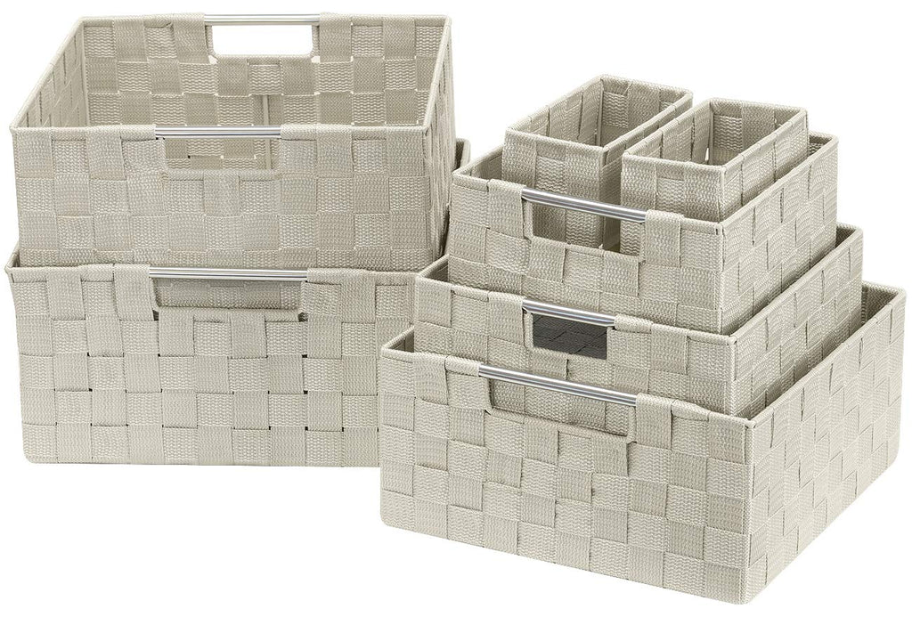 7-Piece Double Woven Basket Bin Set - Sorbus Home