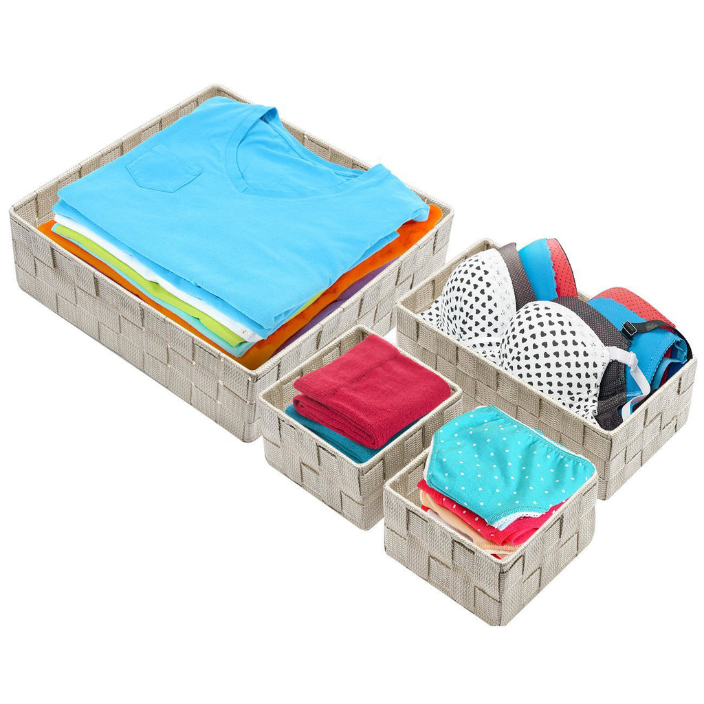4-Piece Double Woven Basket Bin Set - Sorbus Home