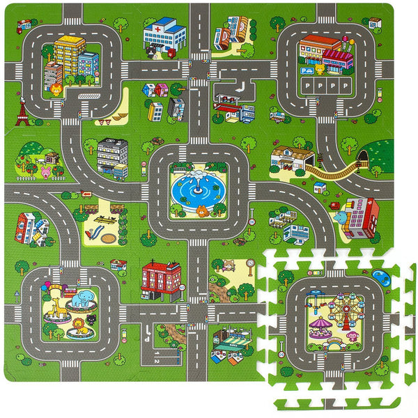 Children Puzzle Play Traffic Foam Mat (9 Pieces) - Sorbus Home