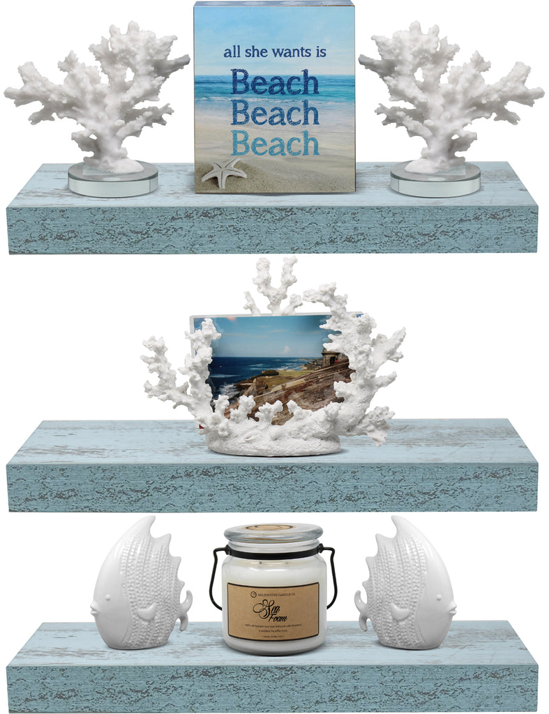 Coastal Rectangle Floating Shelves (3-Pack)