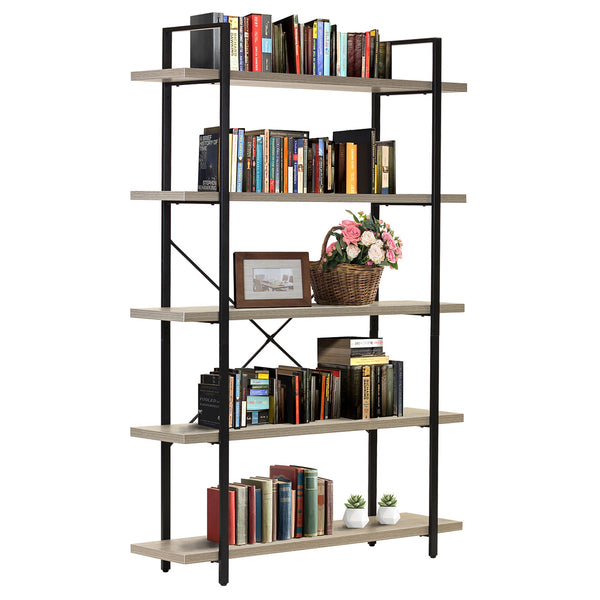 5-Tier Industrial Bookshelf