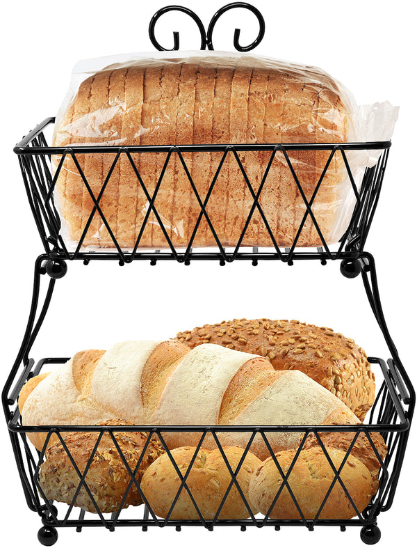 2-Tier Wire Bread Basket Stand