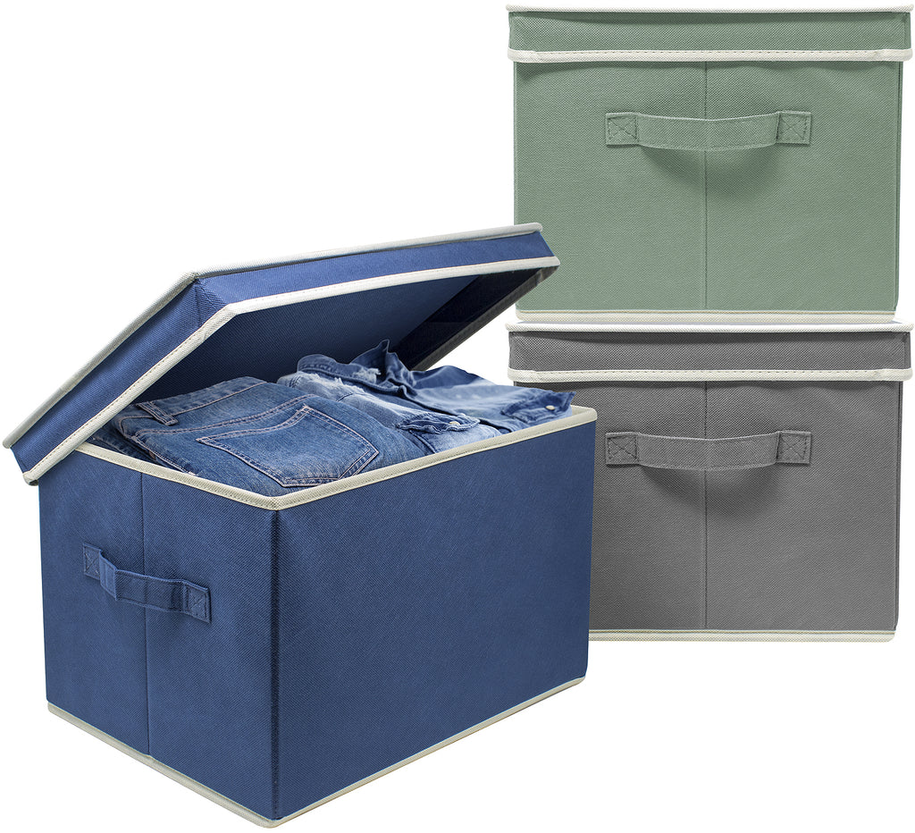 Lidded Storage Box Bins (Set of 3)