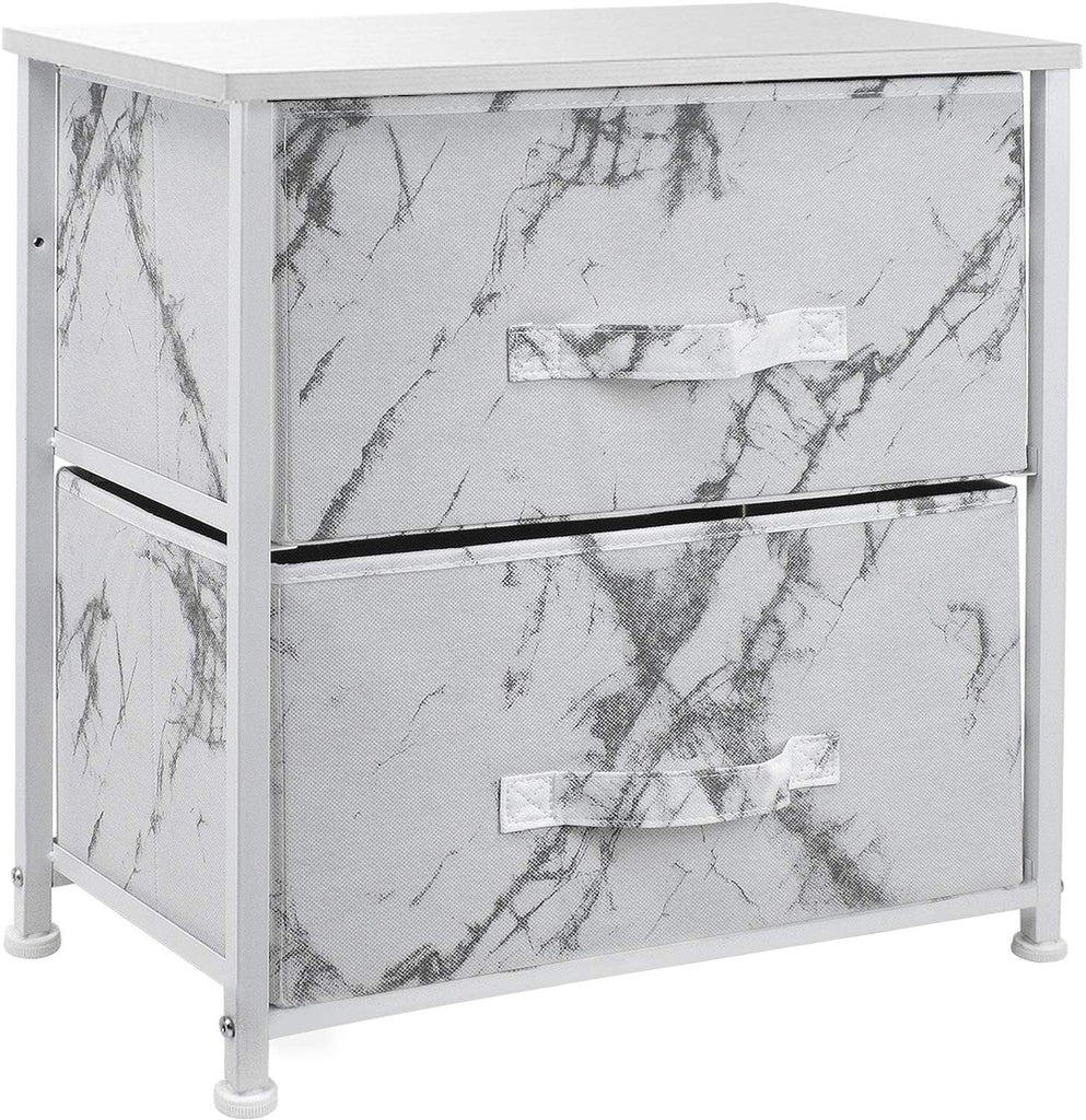 2-Drawer Marble Nightstand
