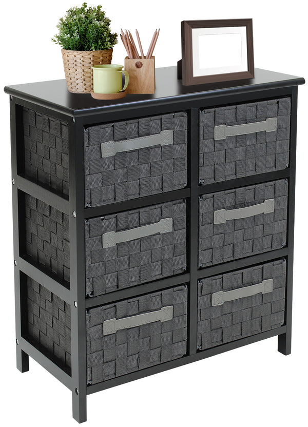 6-Drawer Woven Storage Dresser Chest