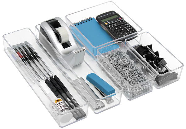 5-Piece Drawer Organizer Set (Clear) - Sorbus Home