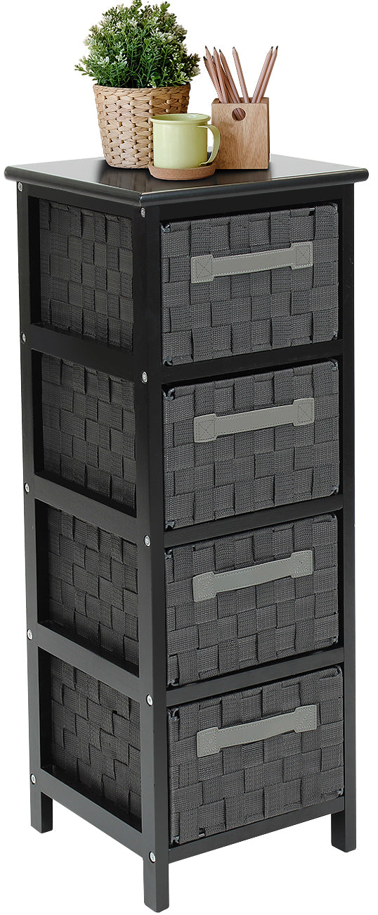 4-Drawer Woven Storage Tower Chest