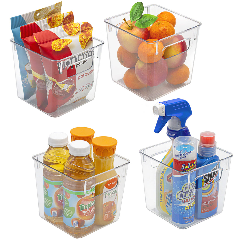 Clear Plastic Storage Bins with Handles (Small, 4-Pack) - Sorbus Home