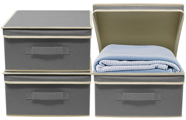 Fabric Storage Bins with Lid (Set of 3)