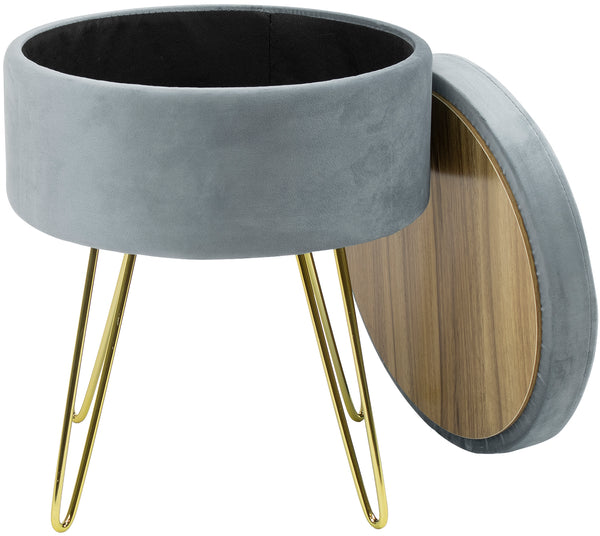 Velvet Footrest Storage with Gold Legs