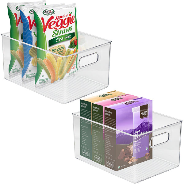 Clear Plastic Storage Bins with Handles (Large) - Sorbus Home