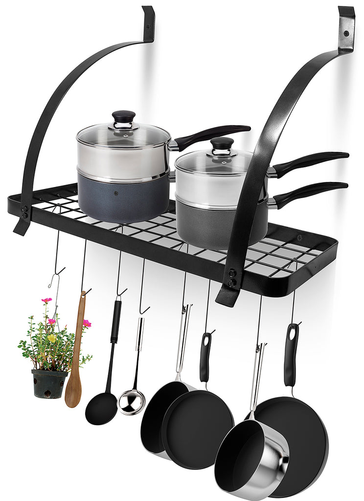 Wall Mounted Reversible Pot Rack with Hooks - Sorbus Home