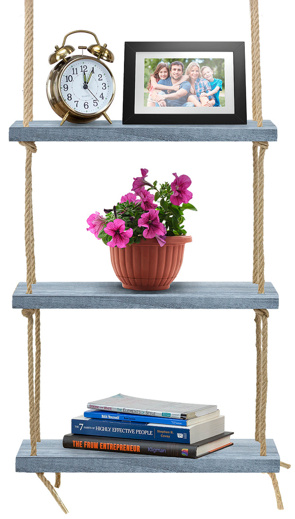 3-Tier Rustic Wood Rope Floating Shelf - Sorbus Home