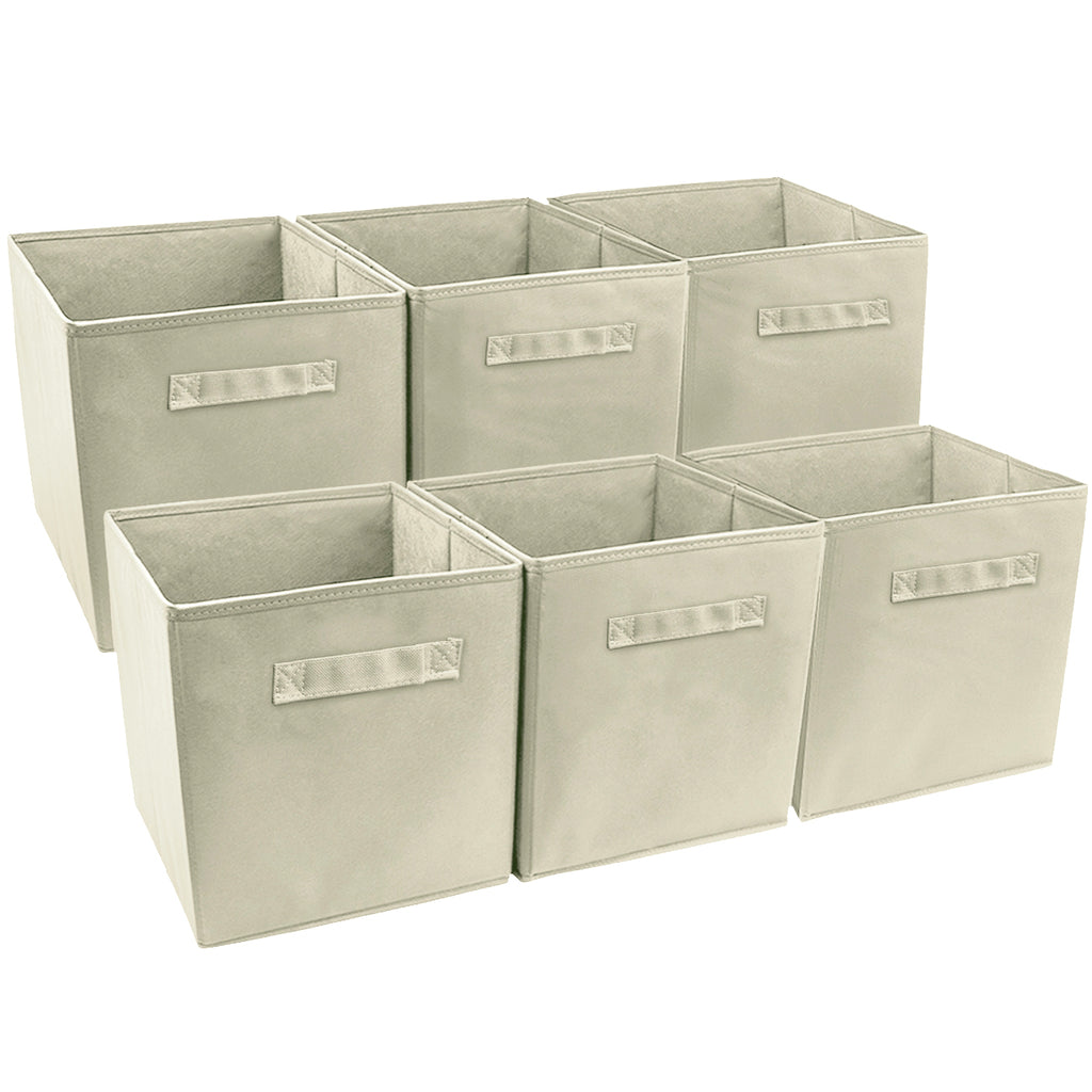 Storage Cube Bins - Neutral Colors (6-Pack) - Sorbus Home