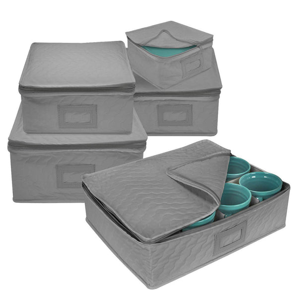 5-Piece Dish Storage Set Square (Service for 12) - Sorbus Home