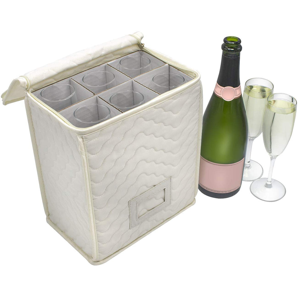 Champagne Glass Storage Chest - Deluxe Quilted Microfiber - Sorbus Home