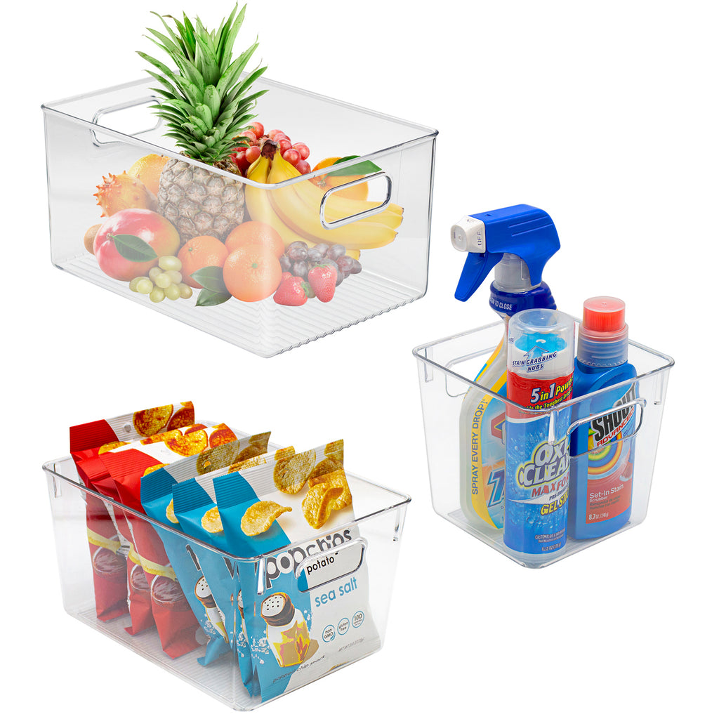 Clear Plastic Storage Bins with Handles (3-Piece Variety Pack) - Sorbus Home