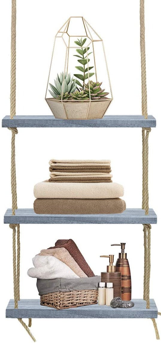 3-Tier Rustic Wood Rope Floating Shelf