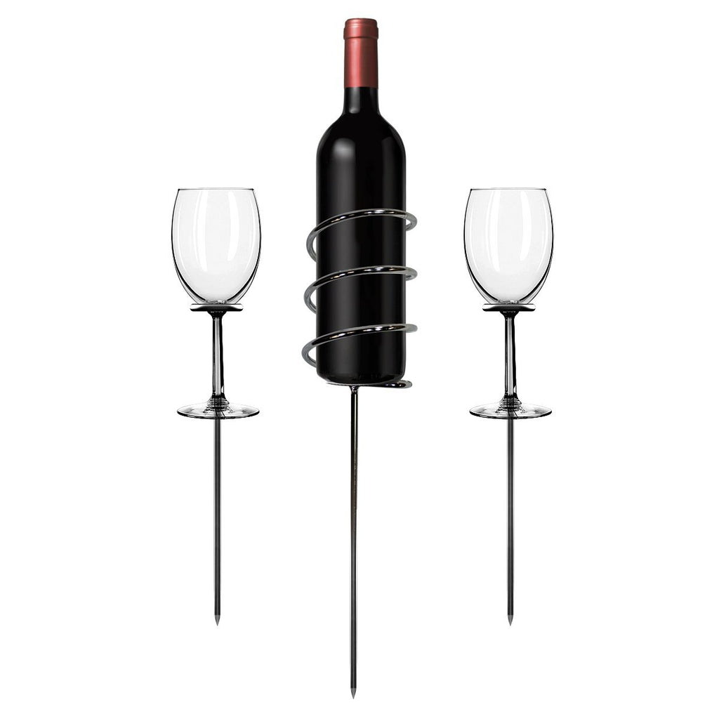 Wine Bottle & Stemware Picnic Stake Set (3-Piece) - Sorbus Home