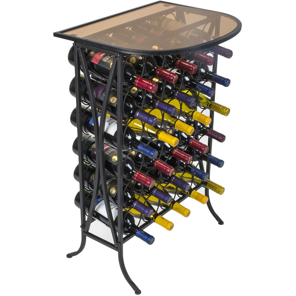 Glass Top Wine Stand (Holds 30 Bottles) - Sorbus Home