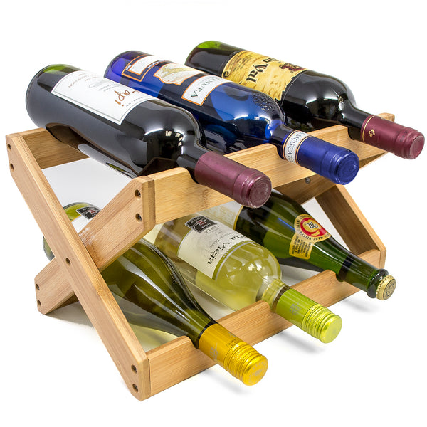 Bamboo Foldable Wine Rack (Holds 6 Bottles) - Sorbus Home