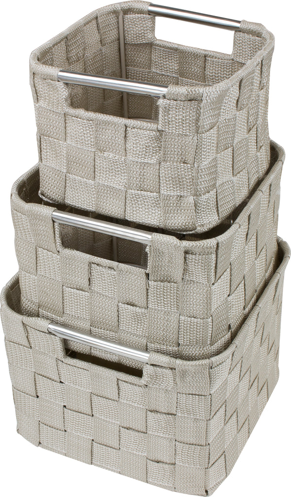3-Piece Double Woven Basket Bin Set (Rounded Corners) - Sorbus Home