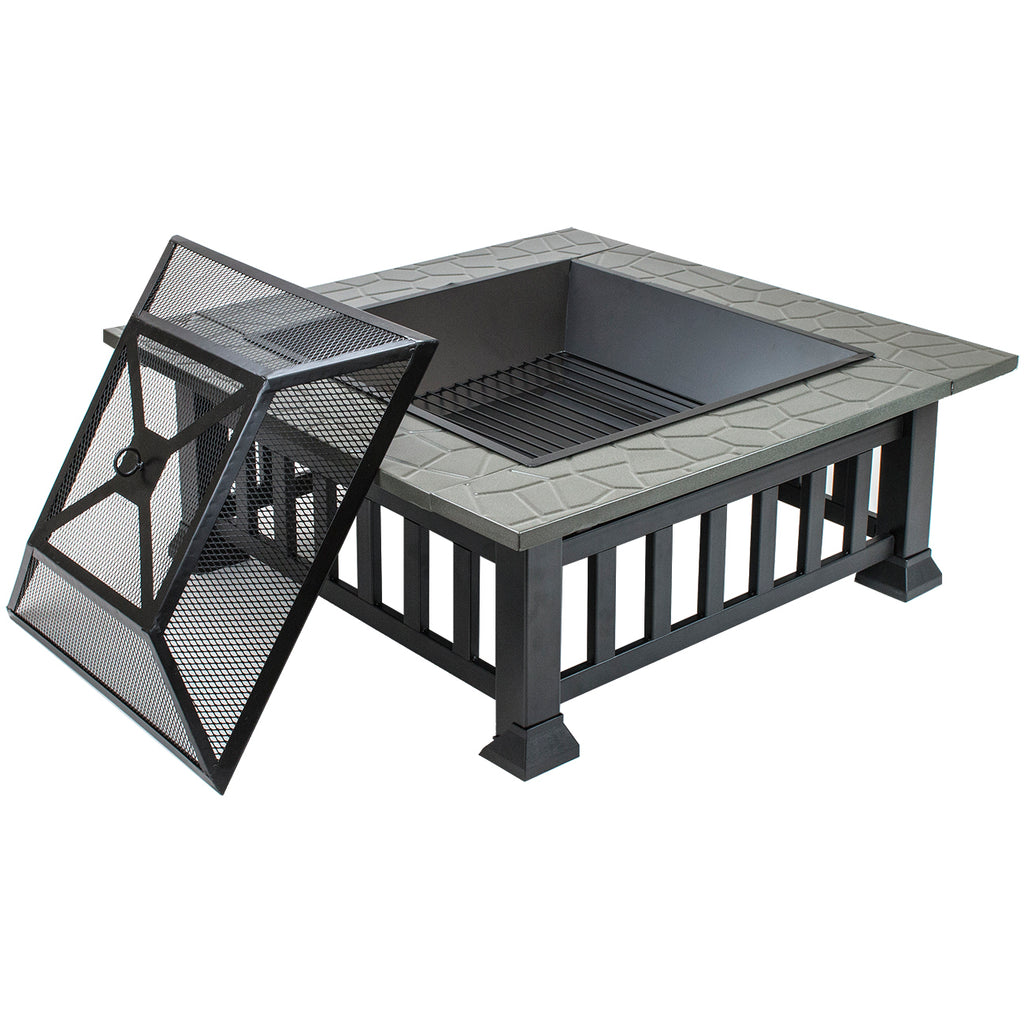 Fire Pit Square Table with Screen Cover - Sorbus Home