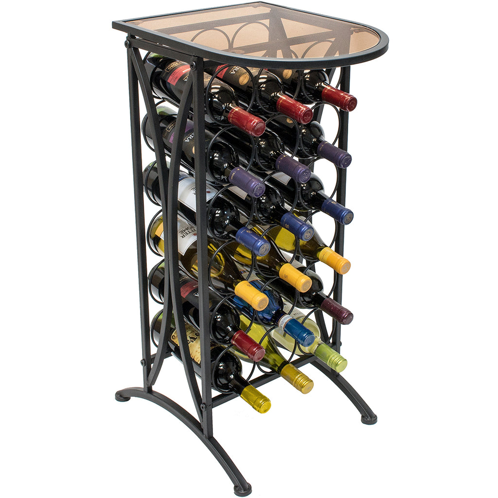 Glass Top Wine Stand (Holds 18 Bottles) - Sorbus Home