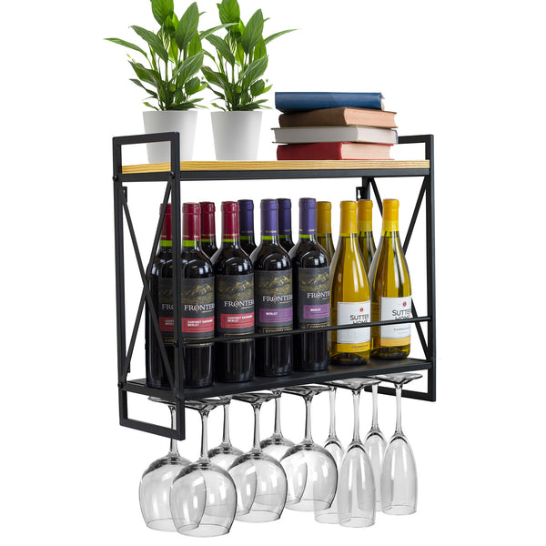 2-Tier Wine Bottle Stemware Shelf - Sorbus Home