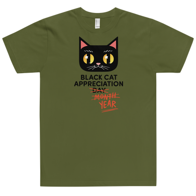 Fitted T-Shirt Black Cat (Black Lettering)