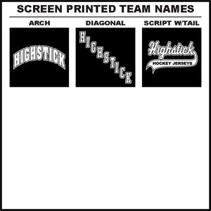 One Color Screen Printed Team Name Hockey Logos