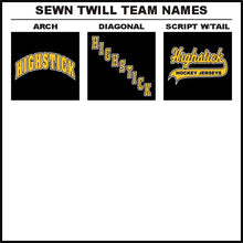 Full Color Sewn Twill Team Name Hockey Logos