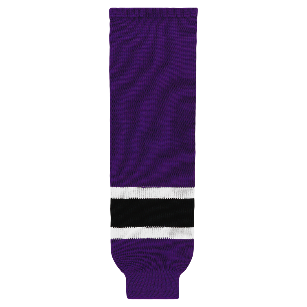 HS630-438 Purple/Black/White Hockey Socks