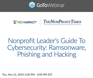 Nonprofit Leader's Guide To Cybersecurity: Nov 21 (2pm ET)