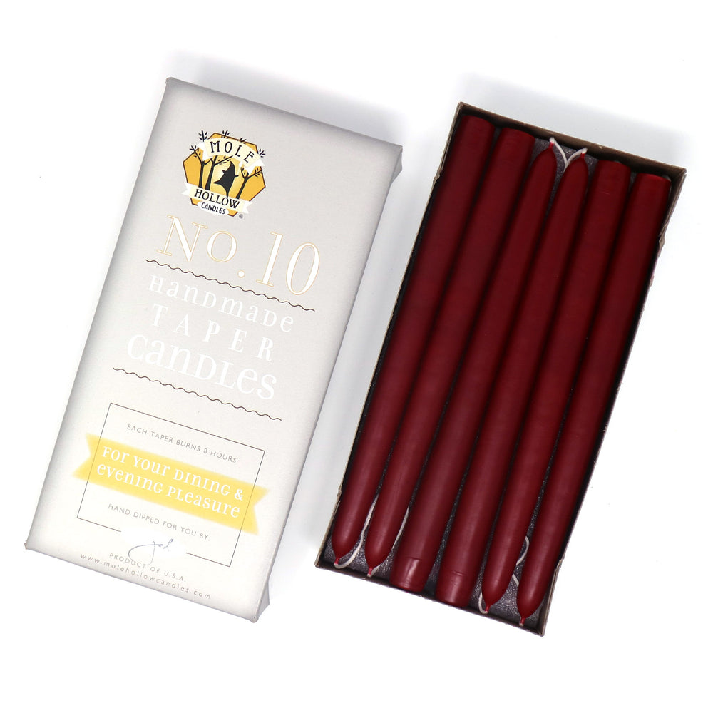 "10"" Dripless Taper Candles - Unscented Burgundy Red - Mole Hollow Candles"